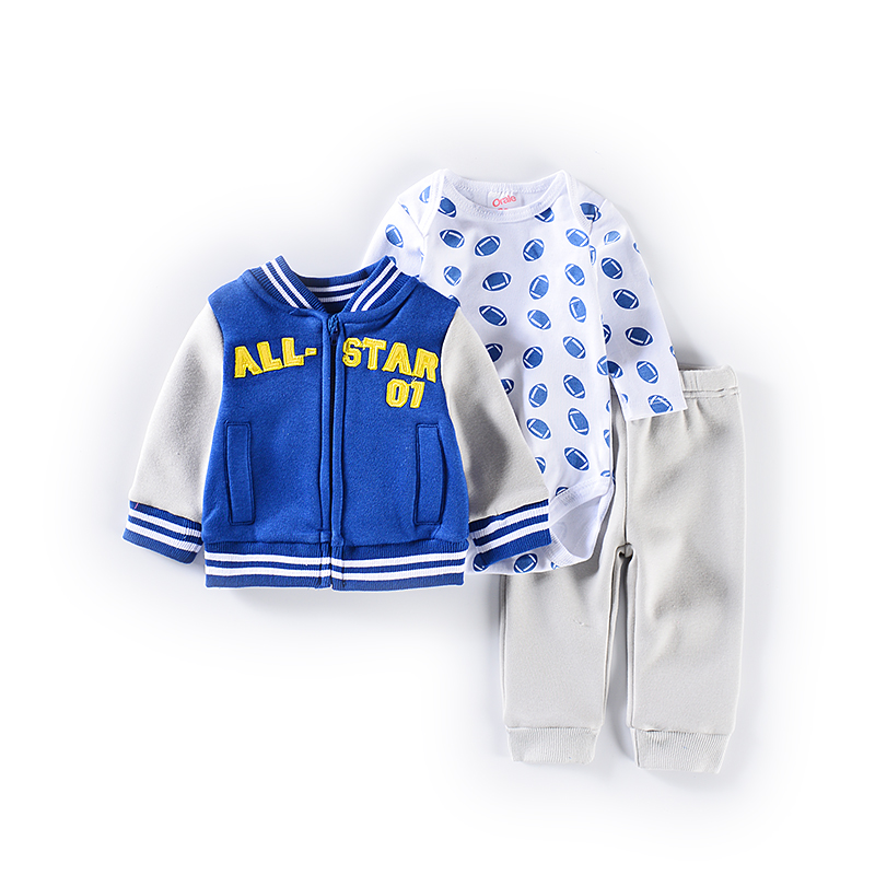 2019 Newest Bodysuit/Tops+Coat+Pants Casual Cotton Clothing Set Baby Girl Clothes Outfit Baby Boy Clothes 3 6 12 18 24 Months