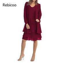 0-Neck Women 2 Pieces Sets Chiffon Jacket Dress Solid Sleeveless Long Sleeves Fashion Autumn New