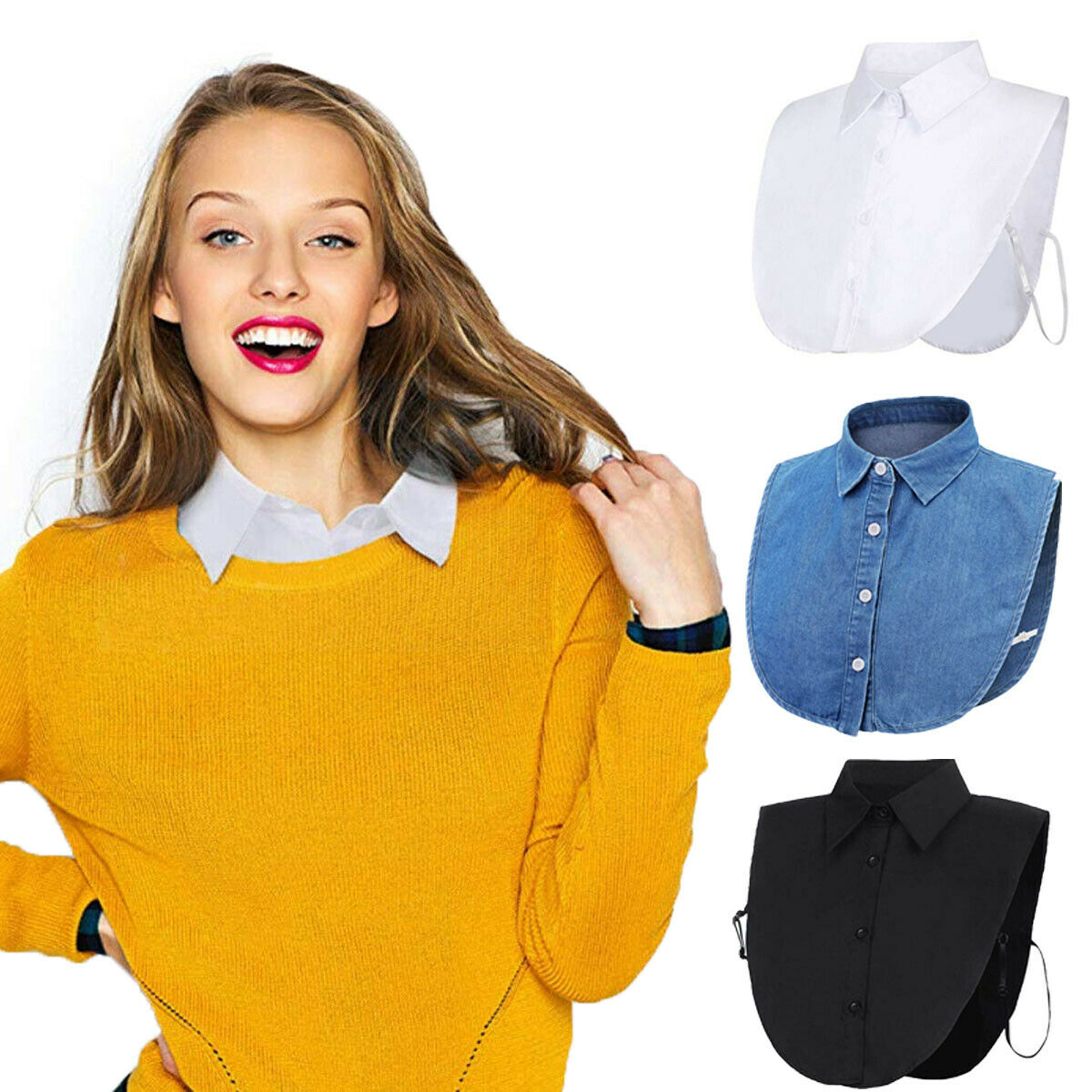 Women Ladies Fake False Lapel Half Shirt Style Blouse Detachable Removable Collar Unisex Men Women Accessories Neck Decor Polyes