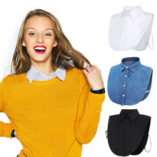 Women Ladies Fake False Lapel Half Shirt Style Blouse Detachable Removable Colla