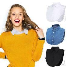 Women Ladies Fake False Lapel Half Shirt Style Blouse Detach