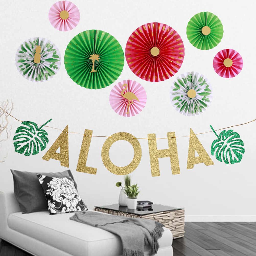 Гавайские вечерние Цветные Цветочные бумажные английские буквы ALOHA праздничные венки фламинго и бумажный веер украшения