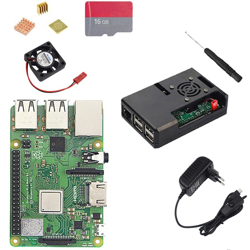 Eu Plug Raspberry Pi 3 Model B Plus With Wifi And Bluetooth+Abs Case+Cpu Fan+3A Power With On/Off Switch+Heatsink Pi 3 B+ Pi 3Eu Plug Raspberry Pi 3 Model B Plus With Wifi And Bluetooth+Abs Case+Cpu Fan+3A Power With On/Off Switch+Heatsink Pi 3 B+ Pi 3