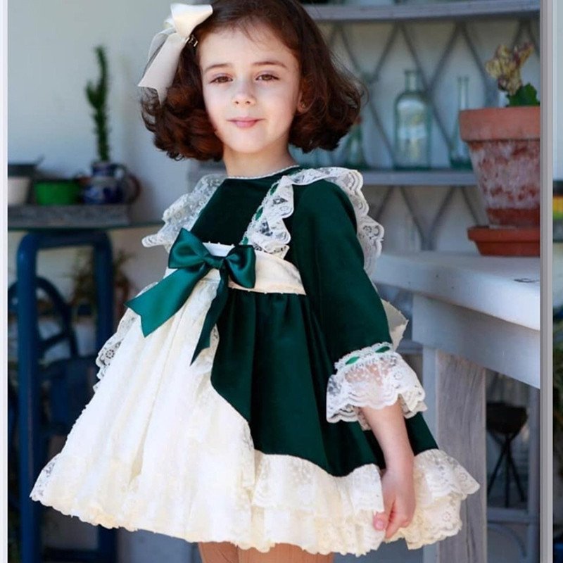 Spain Kids Dress For Christmas Party Bow Lace Baby Girl Princess Wedding Dresses Children Clothing Xmas Vestido Green Elbise new hot children baby dress gold sequined lace sling white tutu dresses for party wedding clothing size 1 7t vestido infantil