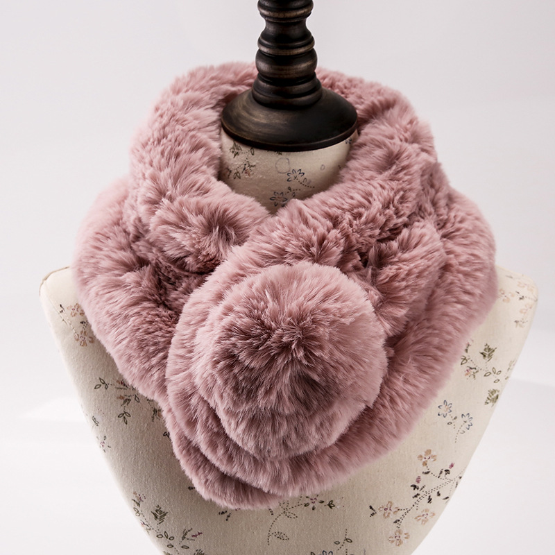 New Furry Scarf Rex Rabbit Fur Female Autumn Winter Rabbit-like Collar Thickening Warm Neck Sleeve