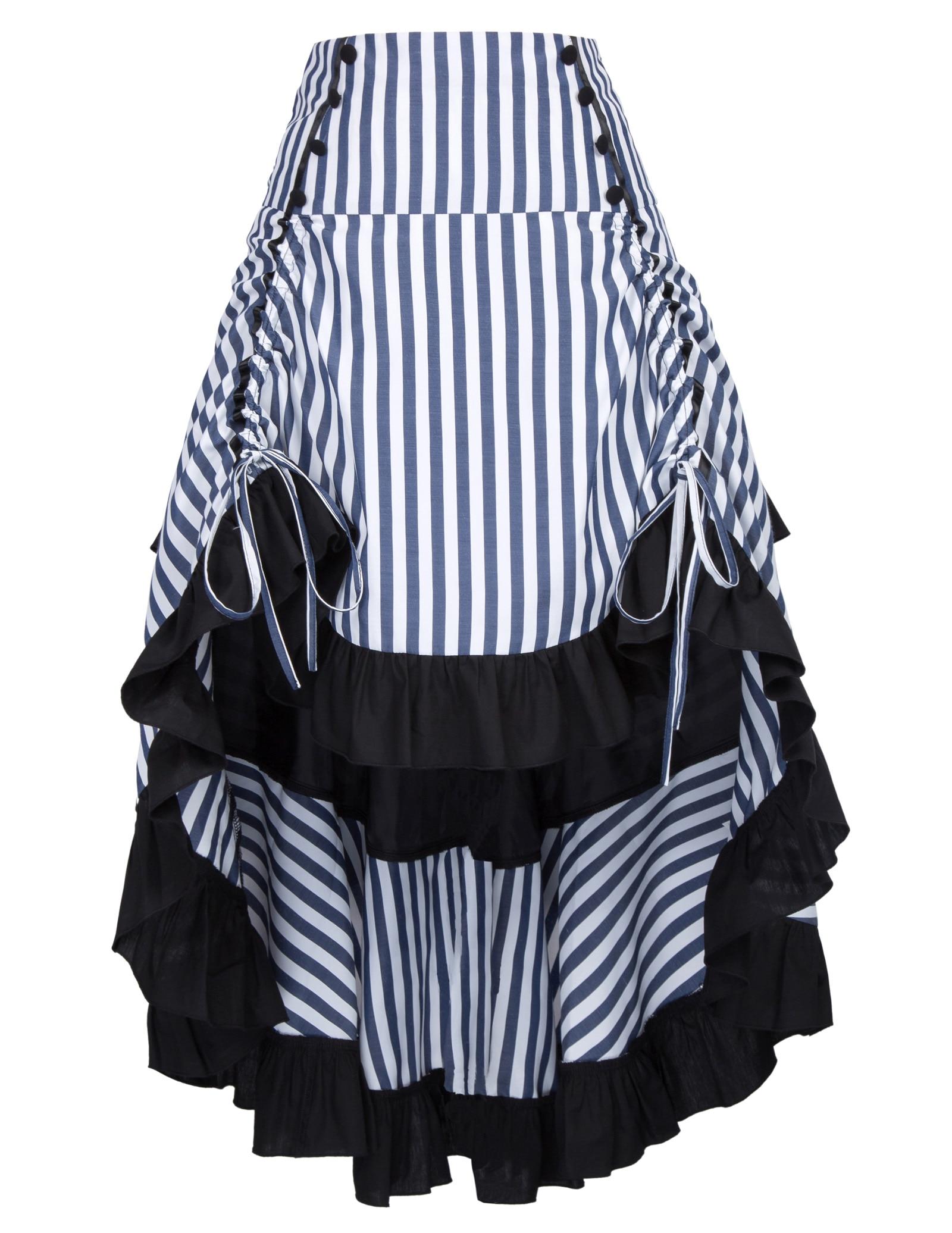 Vintage Striped Gathered Steampunk Gothic Punk Bustle Irregular Skirt  Elastic