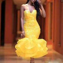 Chic Yellow Vestidos De Festa Sexy Evening Dresses Mermaid