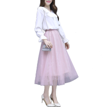 2019 Spring New Woman Fairy Two-Piece Sweet French Fashion Suits White Chiffon Shirt V Neck Blouse Top Long Net Skirt S-XXL