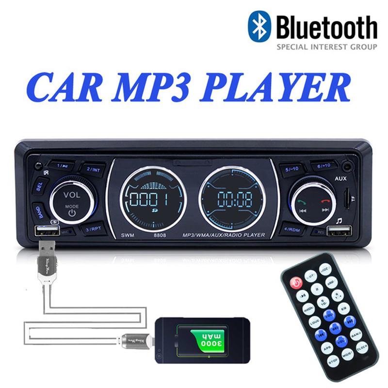 Autoradio autoradio lecteur MP3 FM/SD/TF entrée AUX USB simple 1 Din Bluetooth