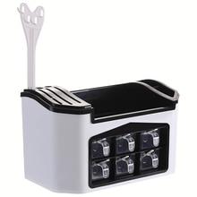 رائجة البيع ودية مشرقة رف توابل رف مطبخ أدوات صندوق برطمان توابل تخزين رف عيدان القاطع صندوق تخزين كبير السعة