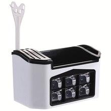 Heißer Verkauf Herzliche Glänzende Spice Rack Küche Regal Werkzeuge Box Spice Jar Lagerung Rack Stäbchen Cutter Lagerung Box Große Capacit