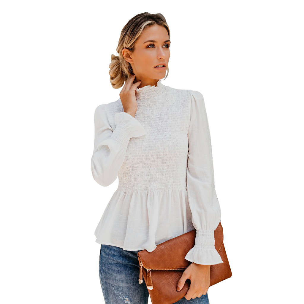 Women Fashion Turtleneck Smocked Ruffle Hem Chiffon Blouse Shirt Ladies Casual Long Sleeve Pullover Tops