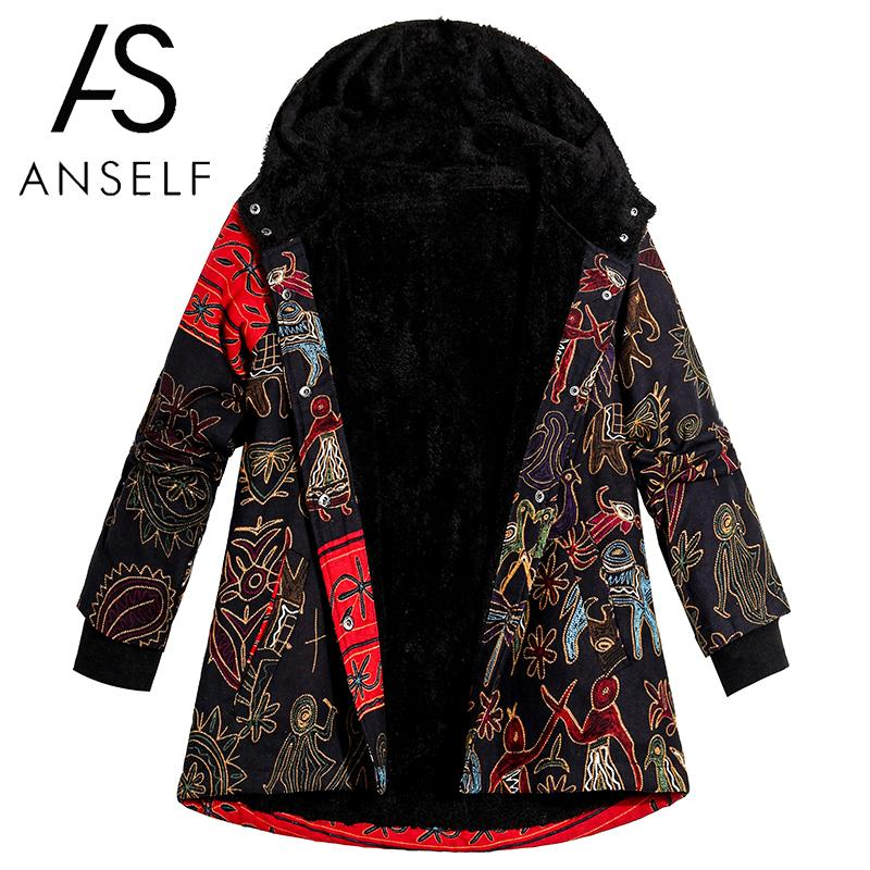 Winter Women Plus Size Jacket Coat Hooded Retro Ethnic Print Thick Fleece Warm   Parka   Coat Vintage Long Outerwear Overcoat Black