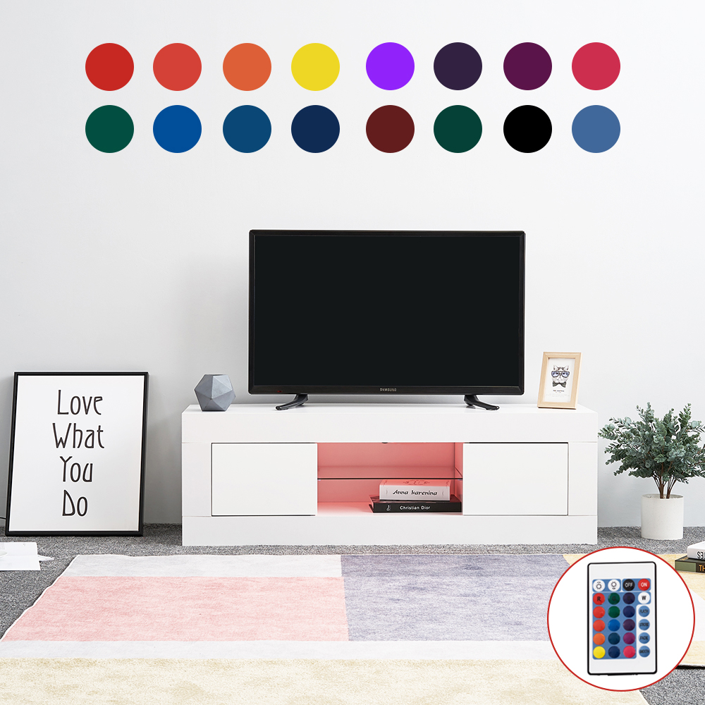 Panana 125cm TV Cabinet Unit Storage With LED Light High Gloss Front Door Shelf TV Stand Livingroom Home Entertainment Furniture
