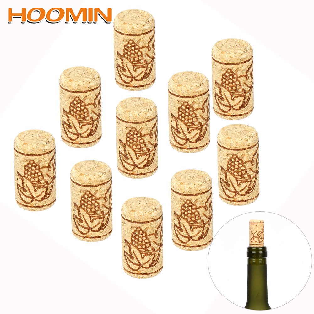 HOOMIN 10Pcs/set Bottle Plug Gadgets Wine Stoppers Straight Wood Corks Baware Wooden Sealing Caps Bar Tools(China)