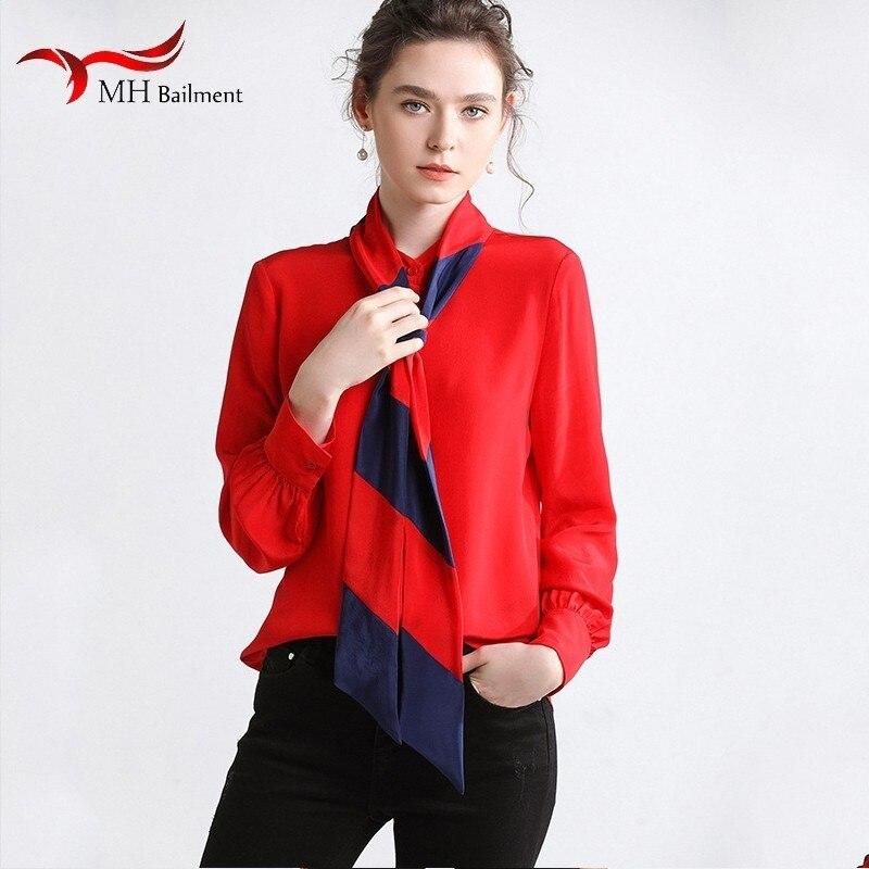 Chemise en soie femmes printemps contraste Bow vraie soie dames chemise en soie petit col montant mode Joker chemise à manches longues D #6