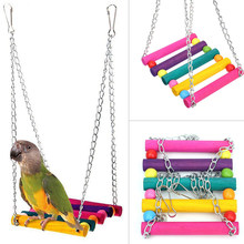 Bird Swing Toys,Parakeet Perches Hanging Cage Toy for Conures Parrots Parakeets Cockatiels Macaws Finches (colorful)(China)