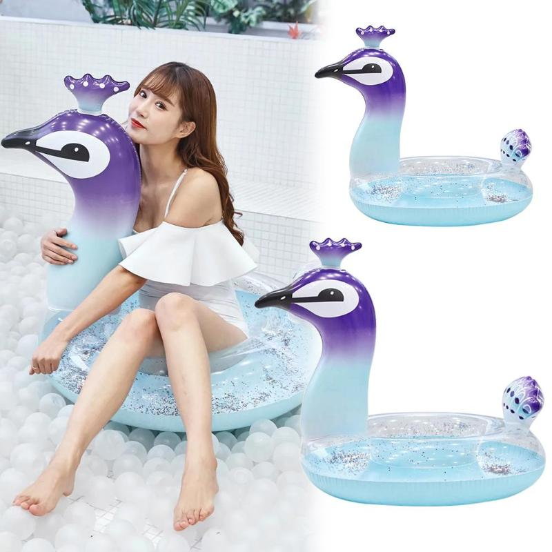 Summer Cute Animal Sequins Pool Inflatable Seat Float Funny Swimming Ring Inflatable Transparent Sequined Peacock Swim Ring Toys