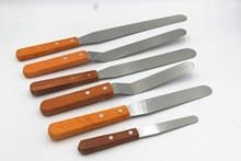 Stainless steel wooden handle cake trowel cream smoothing release straight kissflat knives 6 inch 8 butter knife