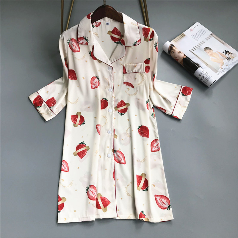 2019 Summer Sleep Lounge Thin Silk Nightgowns & Sleepshirt Sleepwear BF Style Night Dress Nightwear Women Cute Indoor Dress