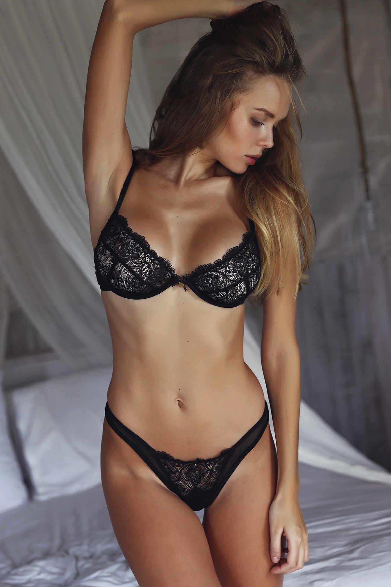 828821770ee556 ... CWXANS sexy lace bra set women black floral push up transparent  bralette plus size lingerie 2018 ...