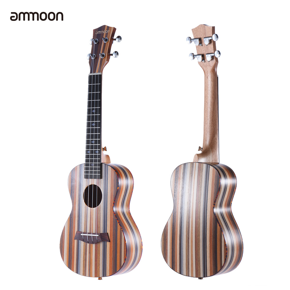 ammoon 24 Acoustic Ukulele Soprano Ukelele 18 Frets 4 Strings Uke Okoume Neck Rosewood Fingerboard String