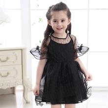 Kids clothes girls dress 2019 summer new gold line solid color mesh fluffy baby
