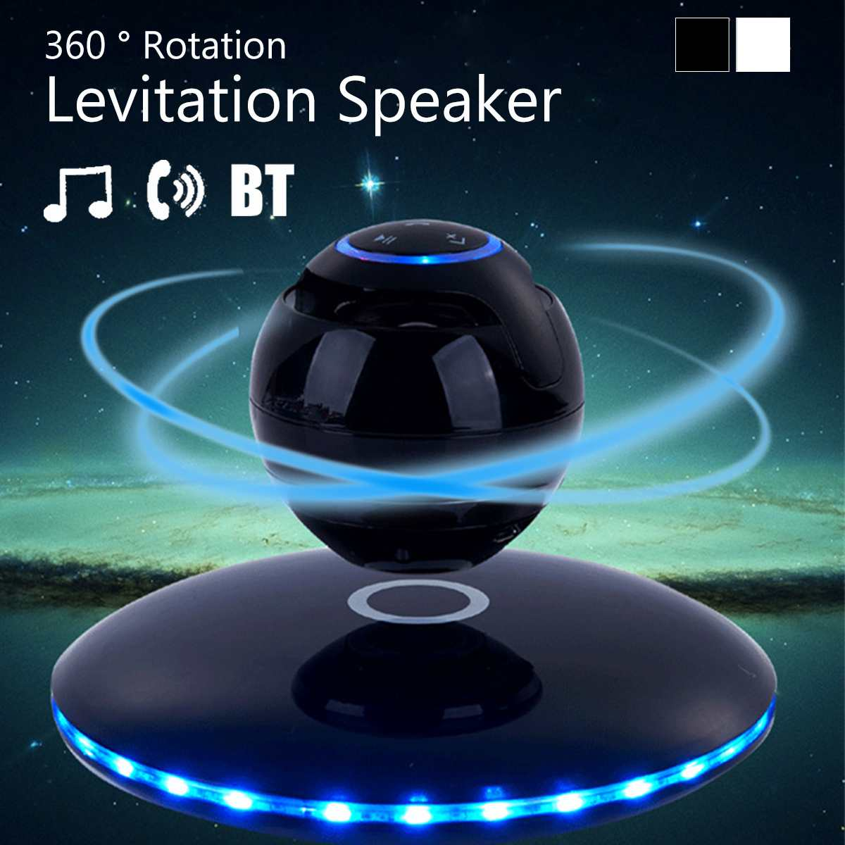 3D Magnetic Levitation bluetooth Speaker Floating Wireless Loundspeaker Colors Change LED Night Light Built in Mic