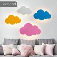 Artpad 15W Modern Cloud Wall Lamp Lights White Pink LED Wall Mounted Living Room Girl Children Bedroom Light Decoration 110v 220