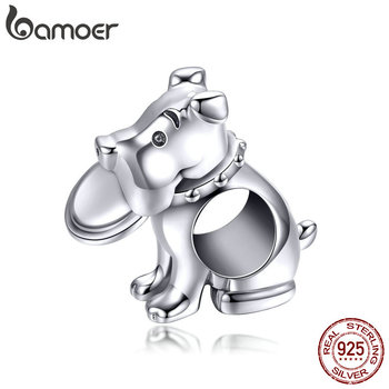 BAMOER gorąca sprzedaż 925 Sterling Silver rzucać Frisbee razem z Doggy zwierząt koraliki urok fit Charm bransoletka DIY biżuteria akcesoria SCC951