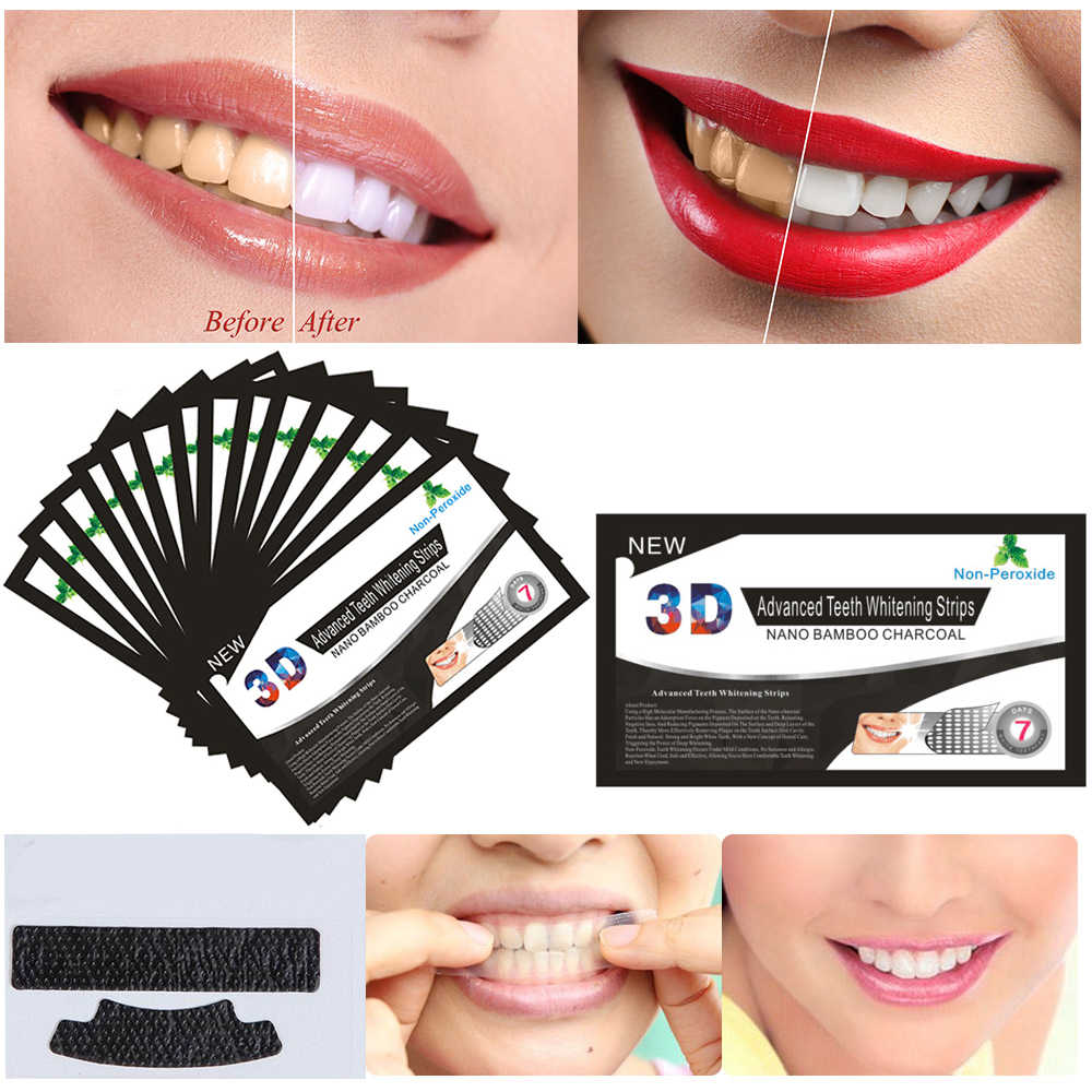 3D Black Teeth Bamboo Charcoal Whitening Patch Stickers Strip Mint Teeth Whitening Strips Professional Teeth Oral Care Tools