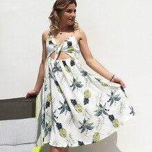 2019 explosion print printed pineapple strap dress sleeveless bohemian beach dress free shipping