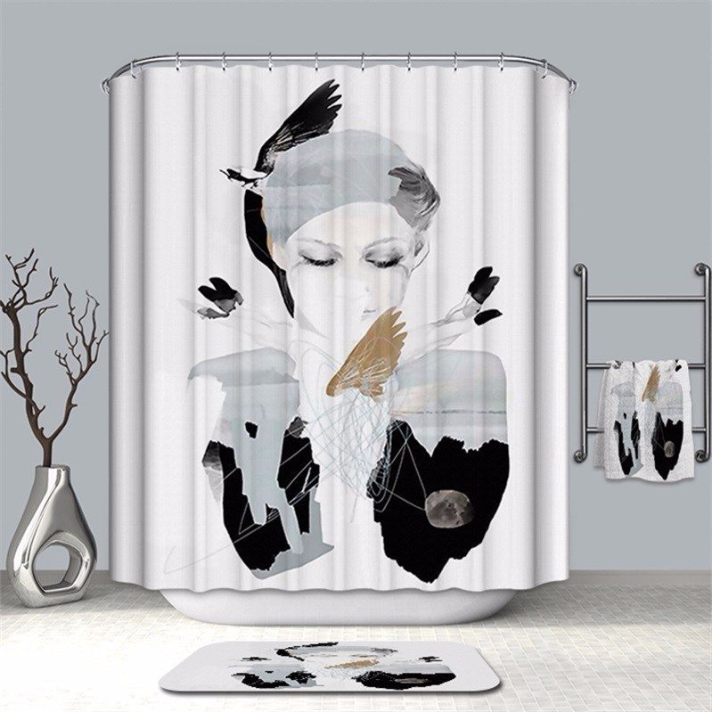 Image 3 - VOZRO Bathroom Shower Curtain Quality Natural Waterproof Polyester 2 M Cloth 3D Totem Simple Douchegordijn Bape Splatoon Cortina-in Shower Curtains from Home & Garden