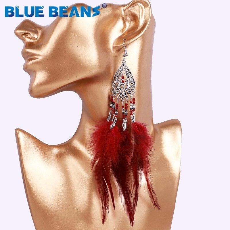 Bohemian feather fashion handmade big earrings statement luxury long Tassel earring hanging women accessories jewelry tribal 925