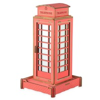 Nulong Laser Cutting 3D Wooden Puzzle 3D wood Jigsaw Puzzle Woodcraft Assembly Kit Telephone Booth with38pcs Parts