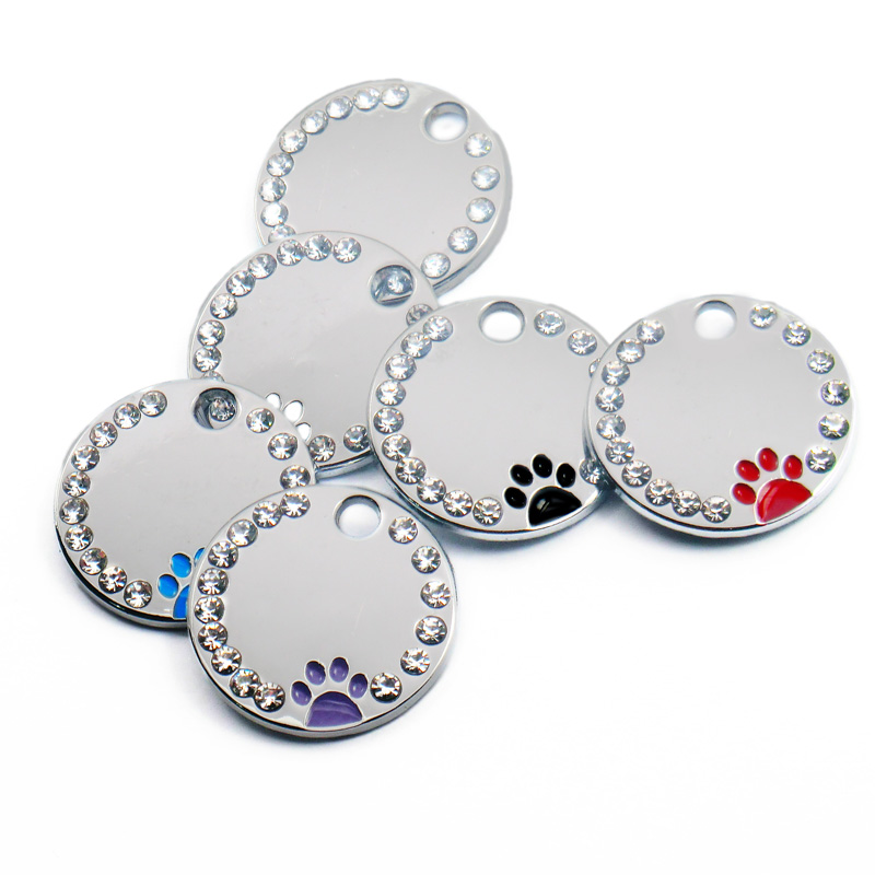 Wholesale 100Pcs Rhinestone Cute Circle Paw Engraved ID Dog Tag Stainless Steel DIY Dog id Tags Pet Shop For Dog Personalized