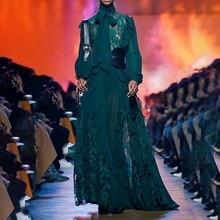 فستان شيفون أخضر بتطريز جوبير من الصدر طويل