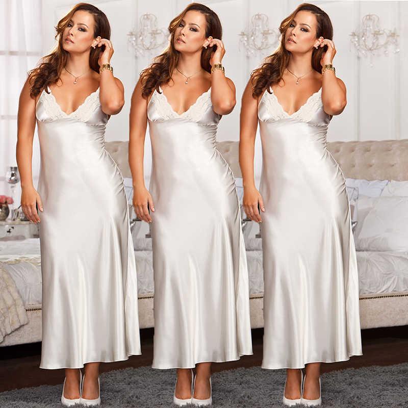 732936d4caf ... 2019 Women Sexy Nightgown Sleepshirts Lingerie Set Silk Lace Robe Maxi  Dress Babydoll Nightdress Sleepwear Solid