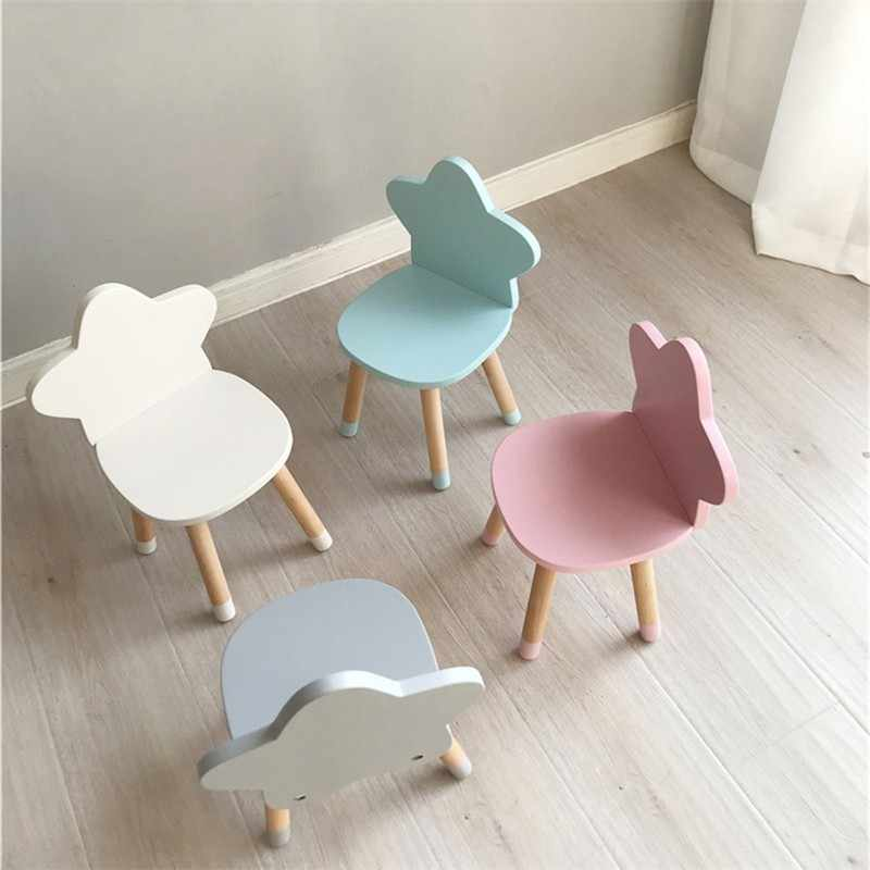 Nordic Style Star Backrest Wooden Stool Kids Furniture Shoes Bench Child Desk Chair Nursery Decor Children Room Decoration