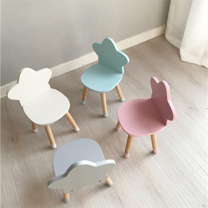 Nordic Style Star Backrest Wooden Stool Kids Furniture Shoes Bench Child Desk Chair Nursery Decor Children Room Decoration