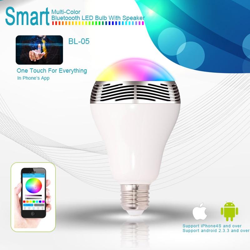 E27/B22 6W RGB LED Bulb Bluetooth Lighting Lamp Color Adjustable Speaker Music Lights Bulb