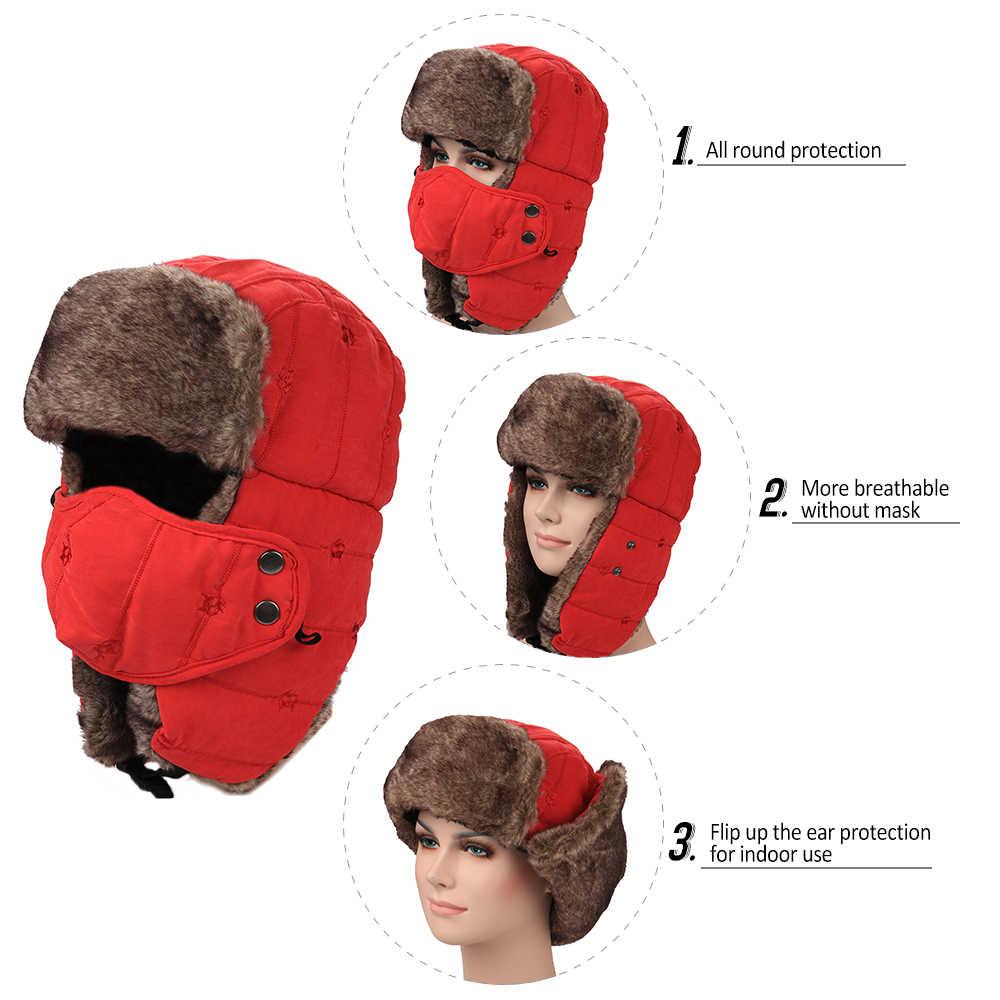ฤดูหนาว Trooper หมวก Windproof เดินป่าล่าสัตว์ปีนเขาสเก็ต Trapper หมวกผู้หญิงผู้ชายกันน้ำหมวกอุ่นหน้ากากหู
