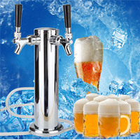 2 House Chrome Mirror Polished Double Stainless Steel Beer Tower Tap DualFaucet Draft