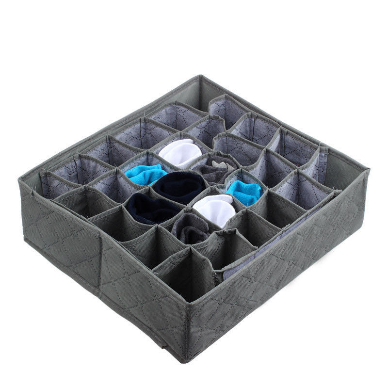 Fordable 30 Cells Bamboo Charcoal Ties Socks Drawer Closet Organizer Drawer <font><b>Organizers</b></font> Storage Box Gary image