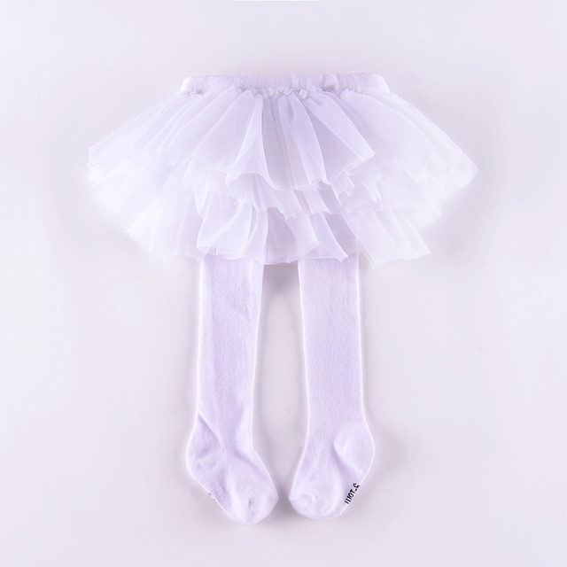 6c7cbb736d649 New baby leggings tutu skirt fall infant tights footed with chiffon skirt  white