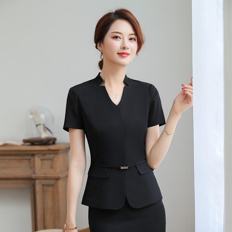 Angemessen Sommer Mode Frauen Mädchen Blazer Büro Dame Elegante Kurzarm V-ausschnitt Anzug Set Business Uniform (jacke + Rock) Schwarz/grau Und Verdauung Hilft