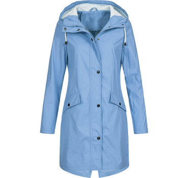 Coat Women Fashion Long Sleeve Hooded Raincoat Windbreaker Hiking Ladies Casual Solid Color Outdoor Waterproof Trench 5