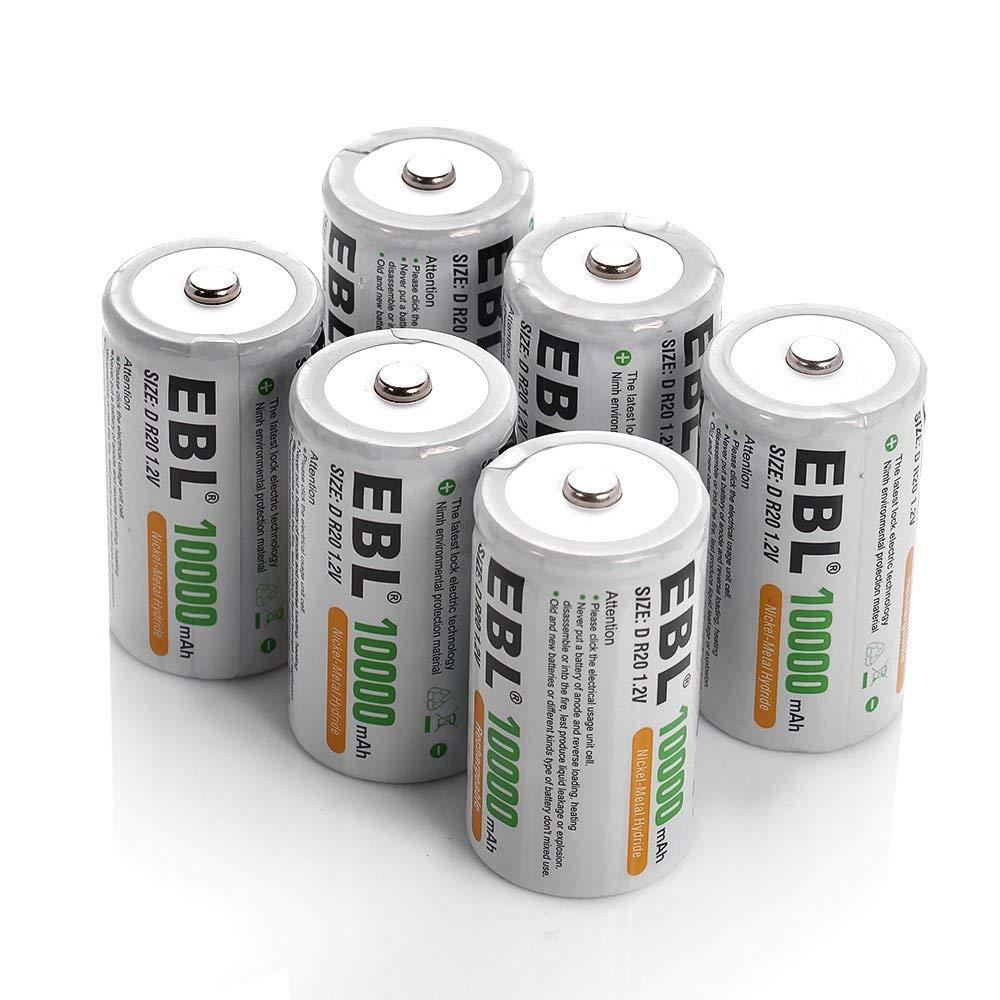 EBL D batterie D taille piles rechargeables 10,000 mAh Ni-MH, lot de 6-technologie ProCyco