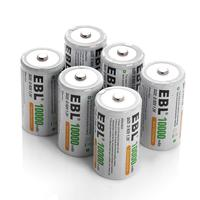 EBL D Battery D Size Rechargeable Batteries 10,000mAh Ni-MH, Pack of 6 – ProCyco Technology Rechargeable Batteries