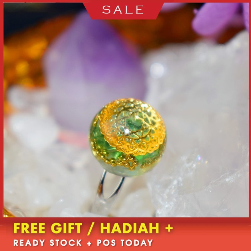 Orgonite Ring Organo Hand Made Ethereum Energy Crystal Tourmaline Gemstone Ring Female Rune Wishing Fashion Gift Jewelry Ss034